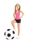 Lovely woman with big soccer ball Stock Images
