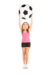 Lovely woman with big soccer ball Royalty Free Stock Photo