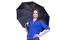 Lovely woman with black umbrella Royalty Free Stock Photos