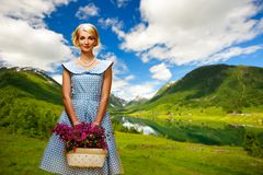 Woman with basket Royalty Free Stock Photography