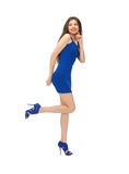 Lovely woman in blue dress Royalty Free Stock Image
