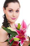 Lovely woman with bunch of flowers Royalty Free Stock Photos