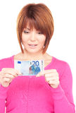 Lovely woman with cash money Royalty Free Stock Photo