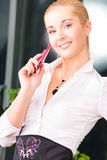 Lovely woman with cell phone Stock Image