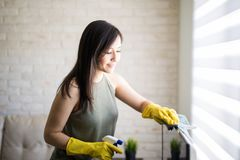 Latin woman removing dust from window blinds. Lovely woman cleaning window blinds with cloth and liquid spray during day time Royalty Free Stock Image