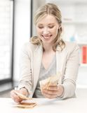 Lovely woman counting euro cash money Stock Images