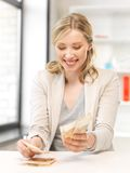 Lovely woman counting euro cash money Stock Photo