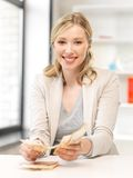 Lovely woman counting euro cash money Royalty Free Stock Images
