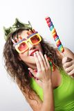 Lovely woman with crown and funny sunglasses Royalty Free Stock Photography