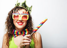 Lovely woman with crown and funny sunglasses Stock Photography