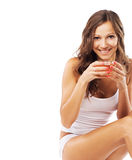 Lovely woman with a cup of tea Royalty Free Stock Image