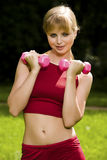 Lovely woman curls dumbbells Royalty Free Stock Image