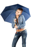 Lovely woman in a denim suit Stock Photo