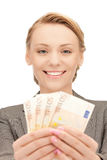 Lovely woman with euro cash money Stock Photo