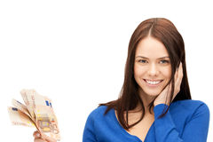 Lovely woman with euro cash money Royalty Free Stock Photography