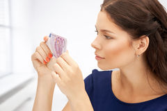 Lovely woman with euro cash money Stock Photography