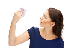Lovely woman with euro cash money Royalty Free Stock Photos