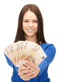 Lovely woman with euro cash money Royalty Free Stock Images
