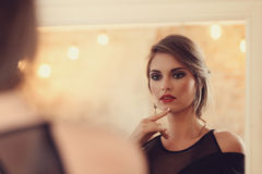 Lovely woman. In evening dress stock photo