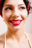Lovely woman face closeup with perfect smile Royalty Free Stock Photography
