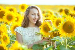 Lovely woman in a field of sunflowers. Stock Images
