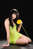 Lovely woman with flower Royalty Free Stock Photography
