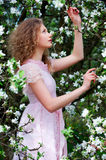 Lovely woman in flowers Royalty Free Stock Photography