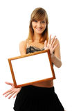 Lovely woman with frame Stock Photo