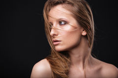 Lovely woman with fresh skin looking away Royalty Free Stock Image