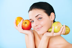 Lovely woman with fruit Royalty Free Stock Photos