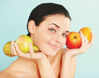 Lovely woman with fruit Royalty Free Stock Photo