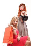 Lovely woman ginger and blonde with shopping bags Stock Photo
