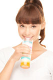 Lovely woman with glass of milk Royalty Free Stock Photo