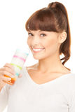 Lovely woman with glass of milk Royalty Free Stock Image