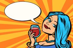 Lovely woman with a glass of wine. Comic cartoon pop art retro vector vintage illustration Royalty Free Stock Images