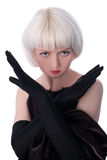 Lovely woman in gloves Stock Images