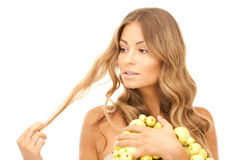 Lovely woman with green apples Stock Images