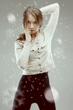 Lovely woman in grey jacket Stock Photos