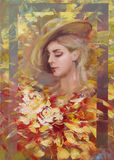 Lovely woman handmade  painting. Lovely woman handmade oil painting on canvas Royalty Free Stock Photo
