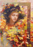 Lovely woman handmade painting. Lovely woman handmade oil painting on canvas Royalty Free Stock Photos