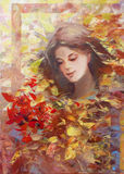 Lovely woman handmade painting. Lovely woman handmade oil painting on canvas Stock Photography