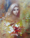 Lovely woman handmade painting. Lovely woman handmade oil painting on canvas Royalty Free Stock Photography