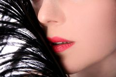 Lovely woman hiding face Royalty Free Stock Photography
