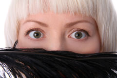 Lovely woman hiding face Stock Images