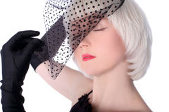 Lovely woman hiding at veil Royalty Free Stock Photos