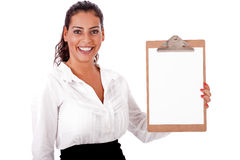 Lovely woman  holding  blank Clip board Stock Photo