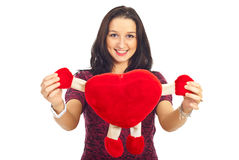 Lovely woman holding heart toy Royalty Free Stock Image