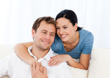Lovely woman hugging her boyfriend Royalty Free Stock Photo
