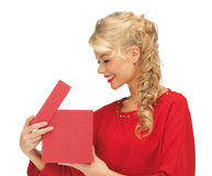 Free Lovely Woman In Red Dress With Opened Gift Box Stock Photo - 27932370