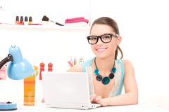 Lovely woman laptop computer Royalty Free Stock Photo